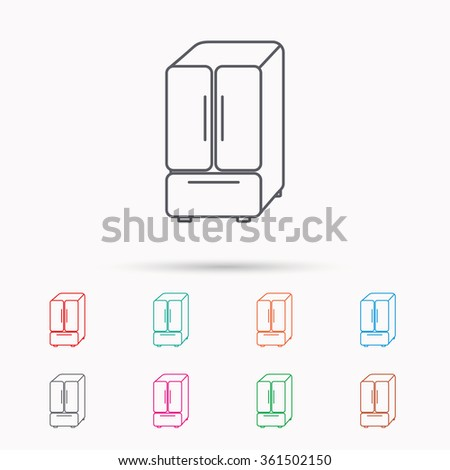 American fridge icon. Refrigerator sign. Linear icons on white background. - stock vector