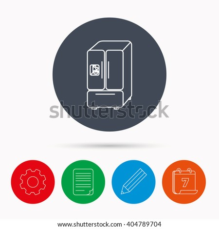 American fridge icon. Refrigerator with ice sign. Calendar, cogwheel, document file and pencil icons. - stock vector