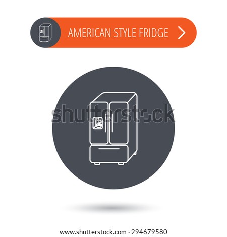 American fridge icon. Refrigerator with ice sign. Gray flat circle button. Orange button with arrow. Vector - stock vector