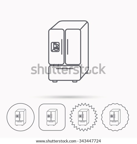 American fridge icon. Refrigerator with ice sign. Linear circle, square and star buttons with icons. - stock vector