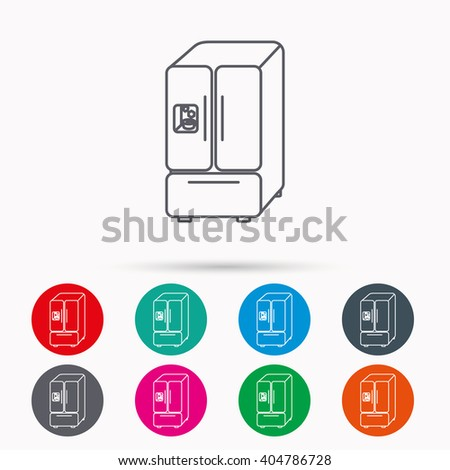 American fridge icon. Refrigerator with ice sign. Linear icons in circles on white background. - stock vector