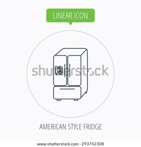 American fridge icon. Refrigerator with ice sign. Linear outline circle button. Vector - stock vector