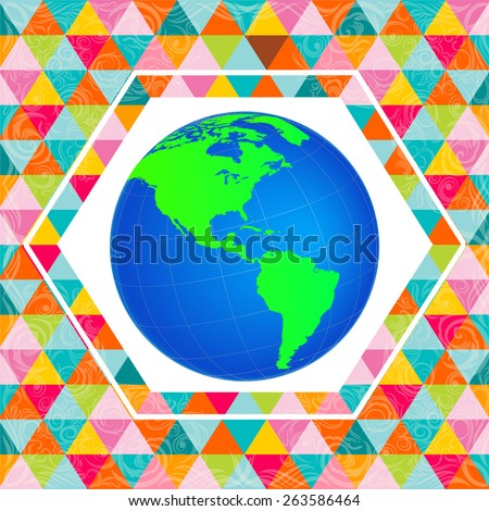 American Globe with Background - Vector Illustration - stock vector