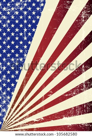 American grunge Flag. A patriotic background for you. - stock vector