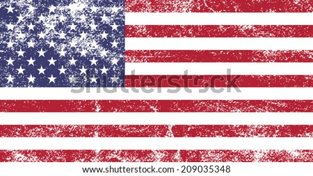 American grunge flag - Vector - stock vector
