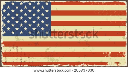 American grunge flags. Vector illustration. Grunge effect can be cleaned easily. - stock vector