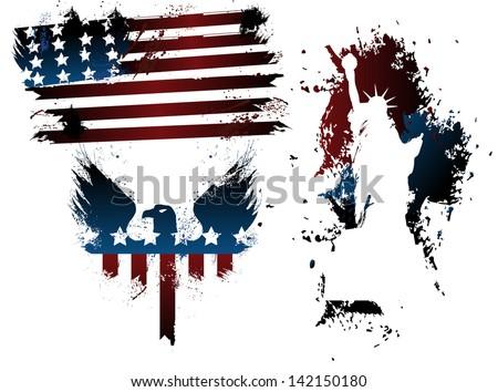 American grunge set - stock vector