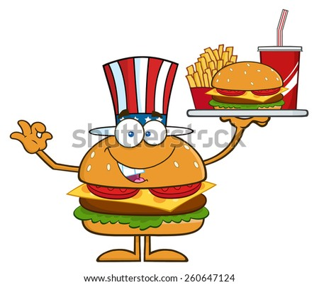 American Hamburger Cartoon Character Holding A Platter With Burger, French Fries And A Soda. Vector Illustration Isolated On White - stock vector
