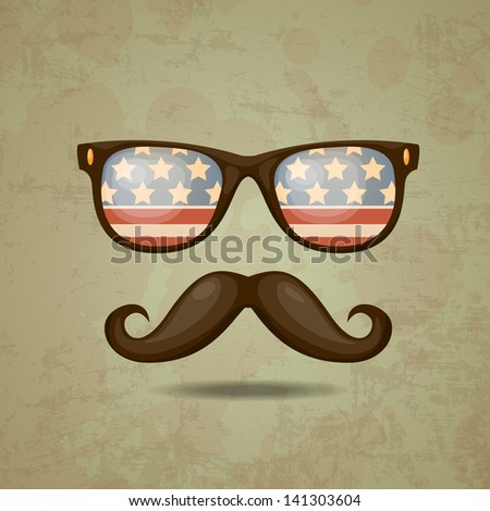 American Hipster. Vector illustration - stock vector
