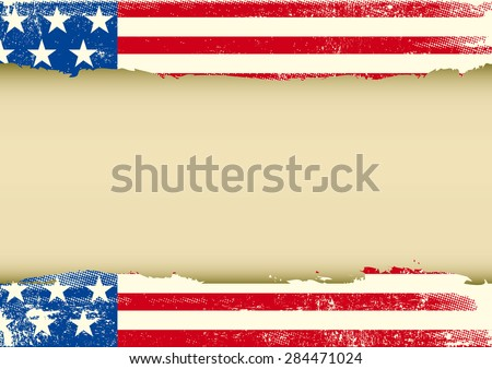 American horizontal scratched flag. An american background with a scratched frame for your message - stock vector