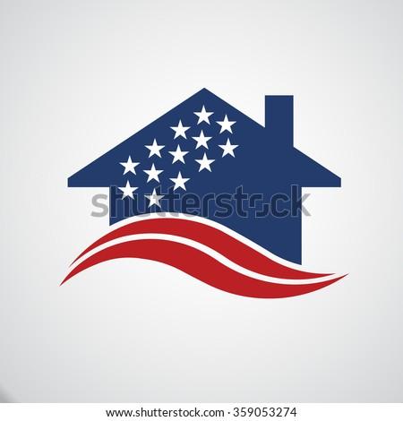 American house logo - stock vector