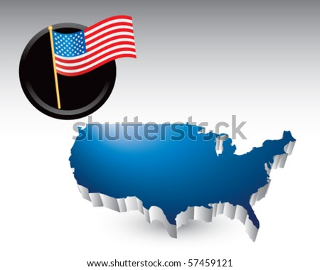 american icon blue united states icon - stock vector