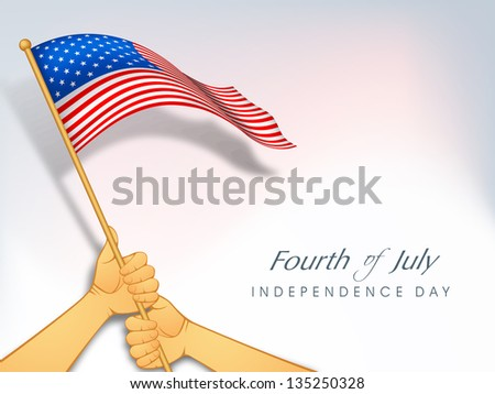 American Independence Day background with waving flag holding by two hands. - stock vector