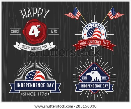 American Independence Day Badge Collection, 4th of July badge and logo design for label, emblem, banner, sticker, Insignia, sale promotion tag in vintage retro style with ribbon decoration - stock vector