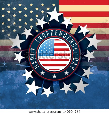 american independence day badge label design - stock vector