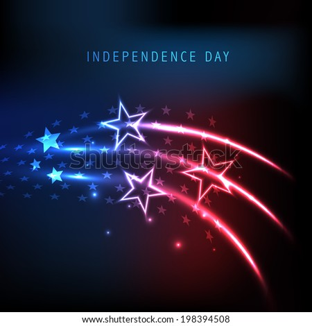 American Independence Day celebration concept with shiny star and waves on red and blue background.  - stock vector
