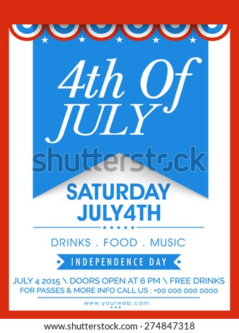 American Independence Day celebration invitation card with stylish text 4th of July. - stock vector