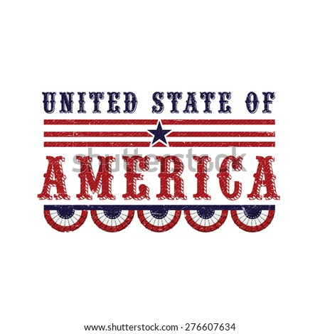 American Independence Day celebration with stylish text United States of America on white background. - stock vector
