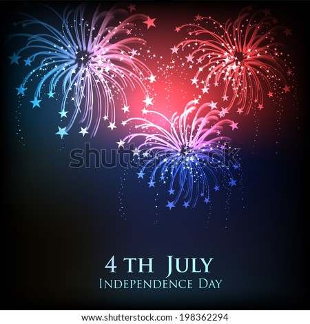 American Independence Day celebrations concept with colourful fireworks in the night.  - stock vector