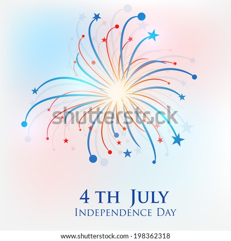 American Independence Day concept with fireworks on colourful background for Independence Day celebrations.  - stock vector