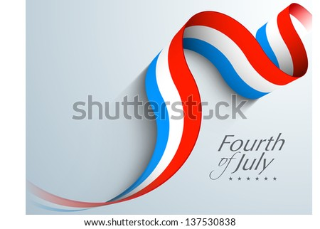American Independence Day concept with waving banner in flag color on grey background with text Fourth of July. - stock vector