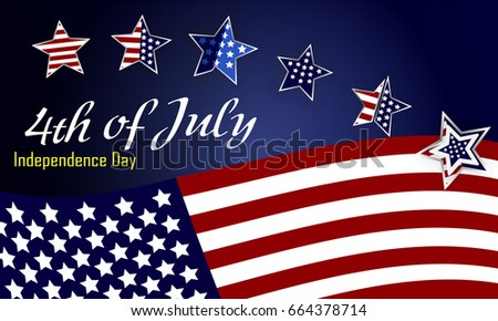 American Independence Day design. A template background for greeting cards, posters, leaflets and brochure. Vector lettering illustration EPS10