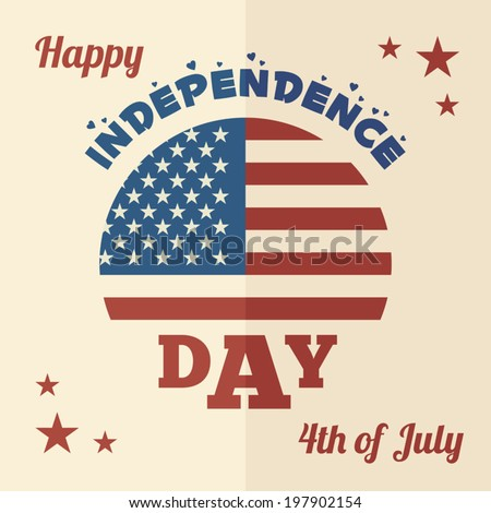 American Independence Day July 4, flat design greeting card