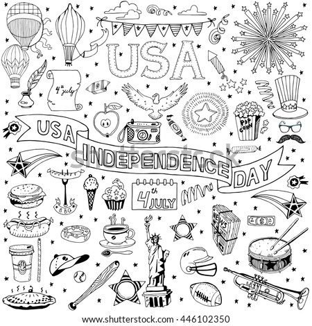 American Independence Day themed doodle set. National symbols of Fourth of July.