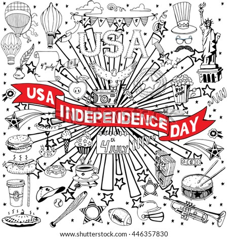 American Independence Day themed doodle set. National symbols of Fourth of July. - stock vector