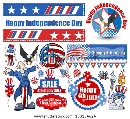 American Independence day vector designs set - stock vector