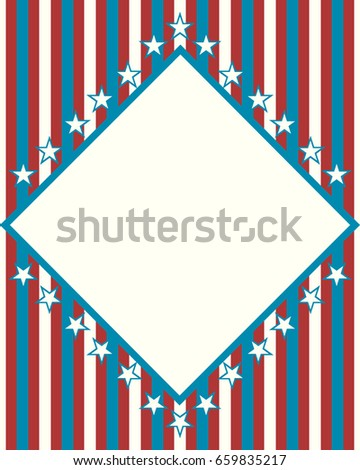 american independence day with empty square and stars retro style background