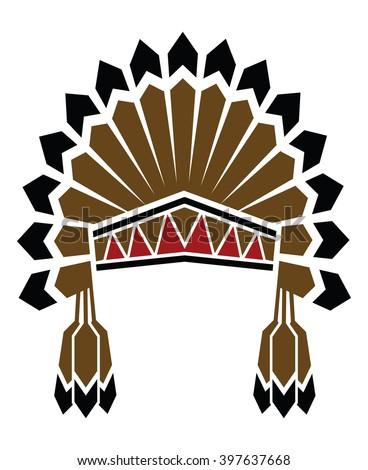 american indian avatar - stock vector