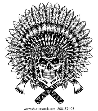 American Indian Chief Skull With Tomahawk - stock vector