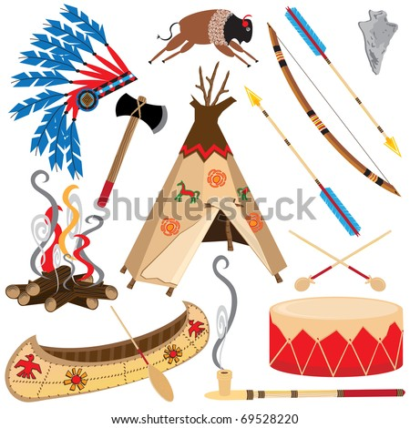 American Indian Clipart Icons and Elements, isolated on white