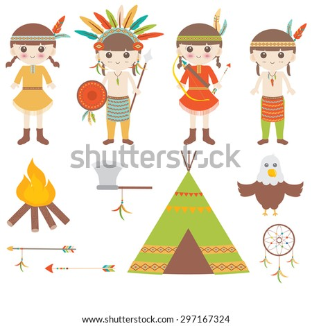 American indian clipart icons design  - stock vector