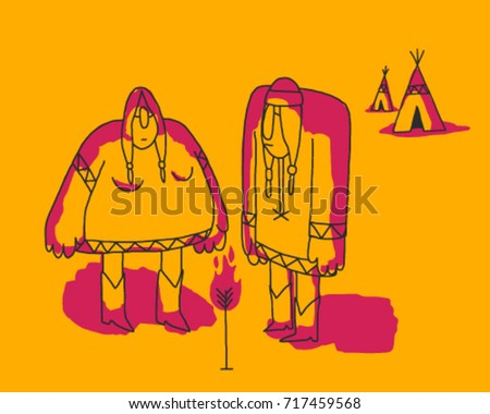 american indian couple camp vector cartoon