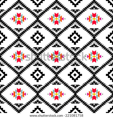 American indian ethnic geometric seamless pattern.Black and white vector pattern.  - stock vector