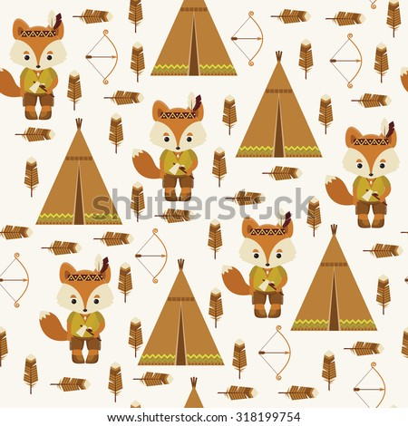 American indian fox character, wigwam, feather, bow and arrow. Cute seamless pattern.  - stock vector