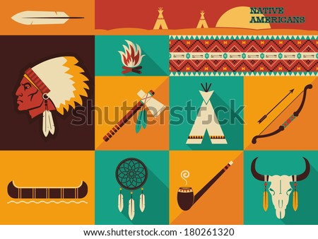 American indian set of icons.Vector illustration of flat design style - stock vector