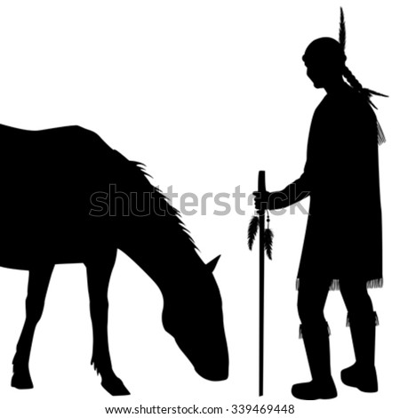American Indian silhouette with horse on white background - stock vector