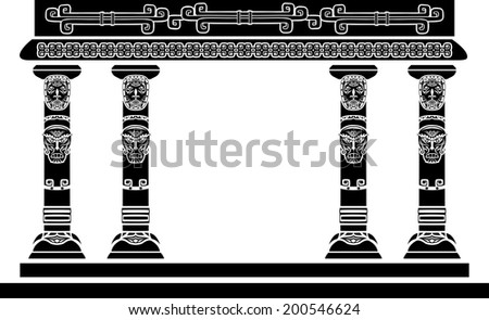 American Indian temple, columns with ritual masks - stock vector