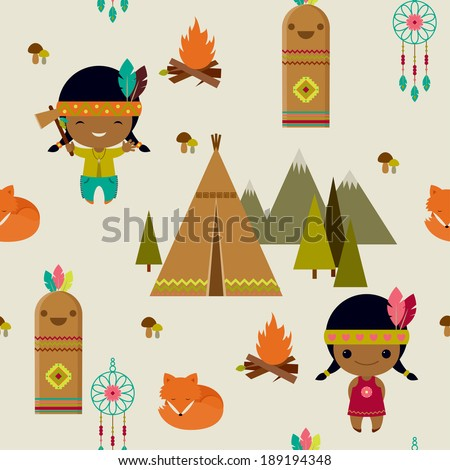 American indians clipart seamless wallpaper - stock vector