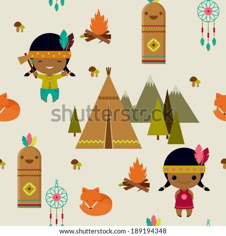 American indians clipart seamless wallpaper - stock vector