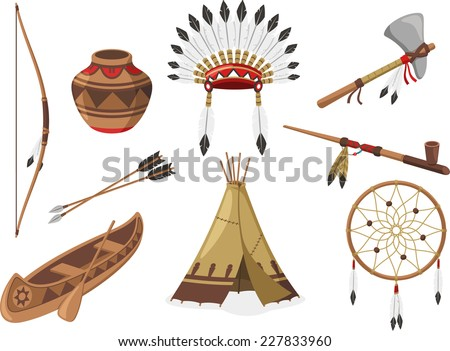 American Indigenous Indian Native Natives Tribal Culture, vector illustration cartoon. - stock vector