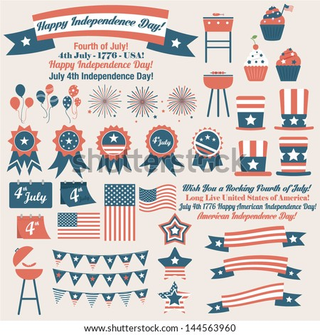 American July 4th Independence Day retro vector elements for cards, banners, illustrations - stock vector