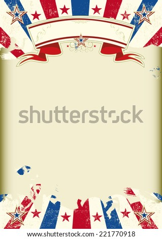 American kraft sunbeams poster. American dirty poster with a large empty kraft paper frame for your message - stock vector