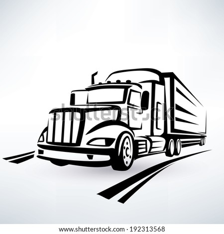 american lorry vector silhouette, truck outlined sketch - stock vector