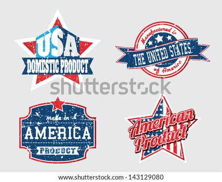 american made in usa retro vintage old school labels with removable grunge effect  - stock vector