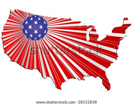 American map vector illustration - stock vector