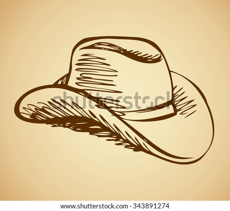 American men wild west ride leather lid symbol isolated on beige background. Freehand outline ink hand drawn icon sketchy in ancient scribble style pen on paper. Side closeup view with space for text - stock vector